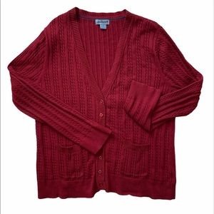 Jessica Woman's Cable Knit Rust Cardigan, size 2X